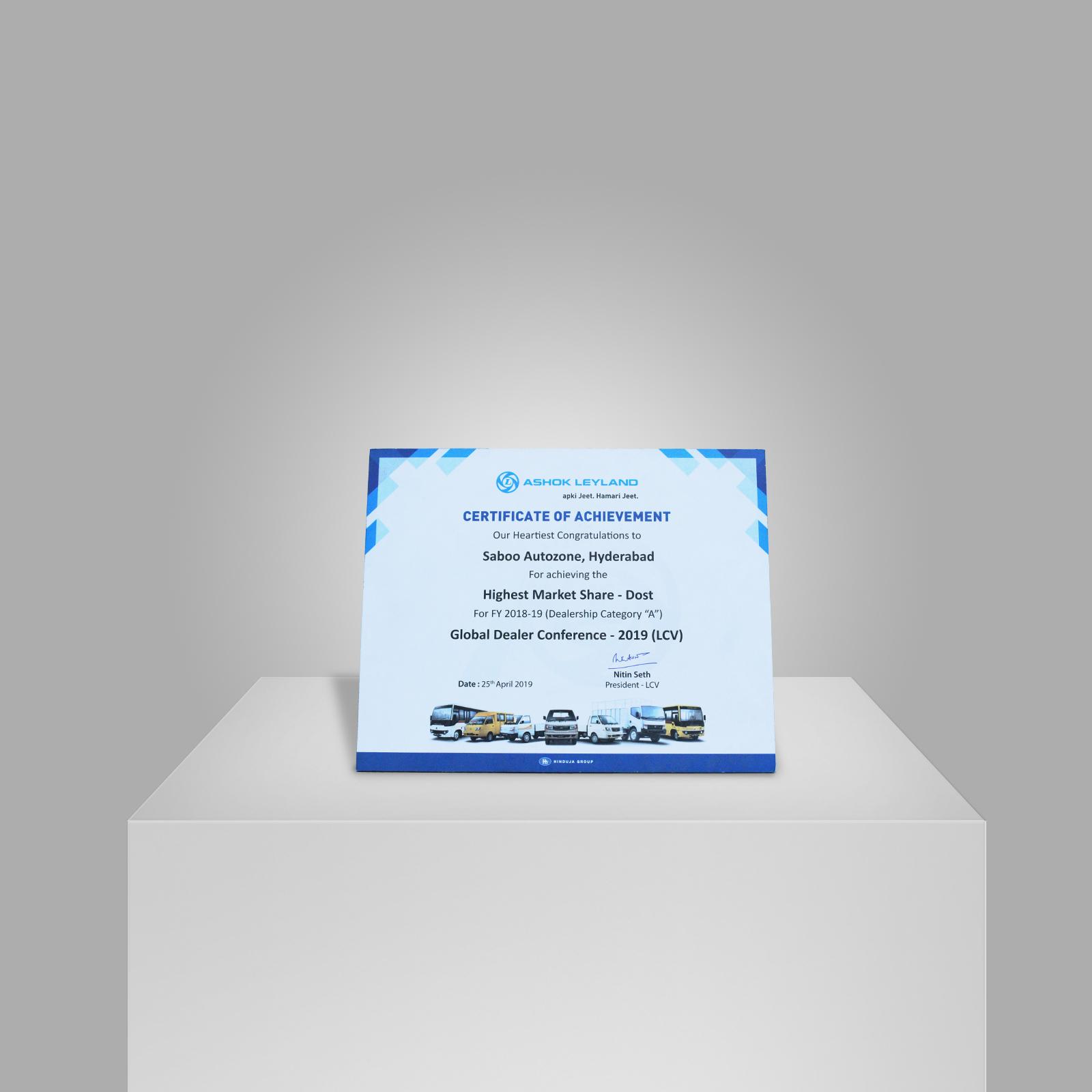 Certification-of-Achievement-Highest-Market-Share-Dost-Award-from-Ashok-Leyland